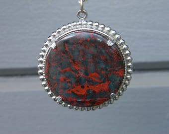 Red and Black Jasper Pendant Necklace with Silver-Plated Setting