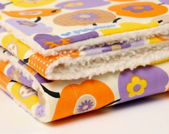 Baby blanket, 'retro apples', purple / orange, blankie, with baby on the way, cotton blanket,