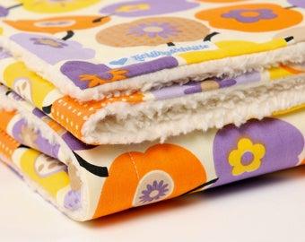Baby blanket, 'retro apples', purple / orange, blankie, with baby on the way, cotton blanket,