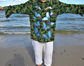 Morpho Butterfly and Uakari Hand Painted Shirt