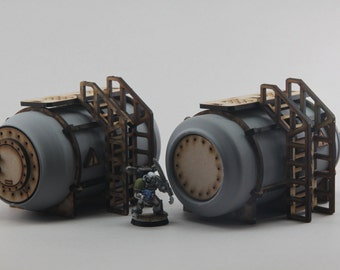 Industrial Chem Tank Terrain for 28mm Wargaming - Kit Makes Two Tanks