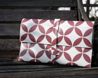 Cover tiles cement geometric pattern red/PVC material originale.design.pochette chic.cadeau woman original.pochette Ipad Tablet