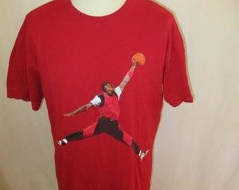 Vintage basketball AIR JORDAN red Size XXL T-shirt
