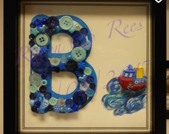 Button and bead Letter with hand painted ceramic