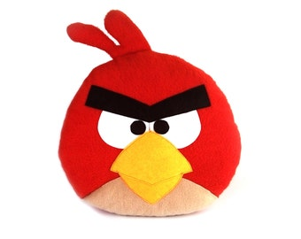 Decorative toy-pillow Angry Birds Red | Angry Birds toy | Red pillow | Angry Birds birthday present - SoftDecor