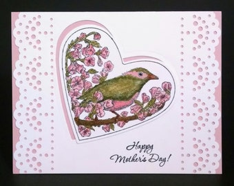 Mother's Day Card, Handmade Card, Stampin Up Card, Happy Mother's Day Card, Card for Mom, Bird Mother's Day Card, Pink Mother's Day Card