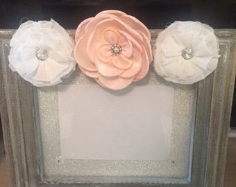 Pink/White Floral Silver Picture Frame
