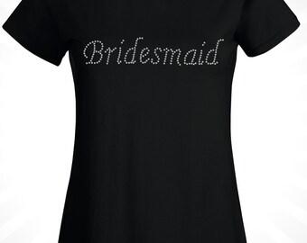 Bridesmaid T-Shirt, Hen Do T-Shirt, Crystal Rhinestone,  Rhinestone T-Shirt, Hen do, Party, Custom