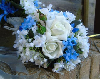 Artificial Blue and White Bridal Bouquet and two Bridesmaids bouquet