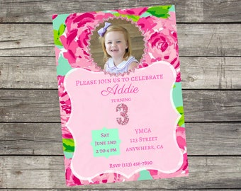 Personalized Lily Pulitzer Birthday Invitation- Digital File Only- DIY 5x7