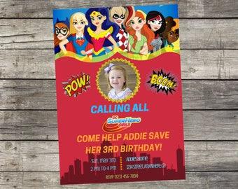 Personalized DC Super Hero Girls  Birthday Invitation- Digital File Only- DIY 5x7