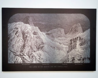 Vintage Print on Acrylic, Aluminum or Wood - Half Dome, Bernal Falls