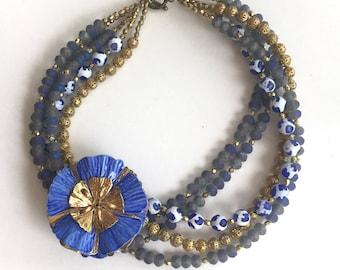 Vintage Blue Enamel Flower Brooch Necklace