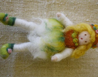 Doll, Puppe, кукла Waldorf carded needle felted Merino Wool ethnic