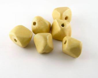 Ceramic Beads Nuggets shape 12mm in Custard Beige set of 6 beads ErikMakesBeads