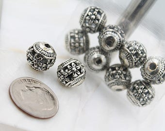 Flower Etched Silver Beads