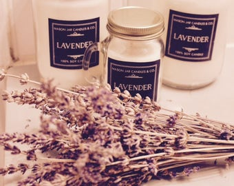 Lavender Candle, Lavender Soy Candle, Relaxing Candle, Spa Candle, Gift For Her, Organic Candle, Mason Jar Candle, Mason Jar Soy Candle