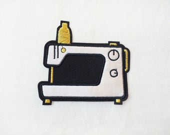 1x SEWING MACHINE patch -  Embroidered Applique gold black white satin - perfect for seamstress diy custom