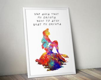 The Little Mermaid Ariel on the Rock, Quote, Watercolor, illustrations, Wedding Gift, Wall Art, Poster, Wall Decor