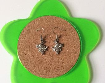 Handmade alice in wonderland rabbit dangle earrings
