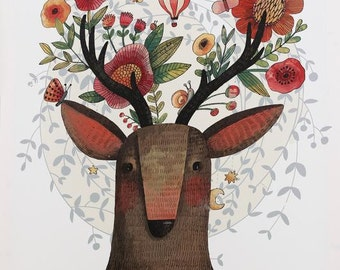 Deer and Flowers (white) Canvas Art