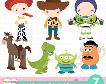 Toy Story ClipArts Pack, Toy Story GIF PNG JPG Files, Disney Toy Story ClipArts Decoration Stickers Boy Girl Birthday Party Woody Buzz Jesse