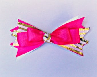 Pink and Gold Striped Spiked Bow