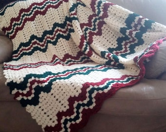 Hand made Ripple Afghan in burgundy, green, and ivory
