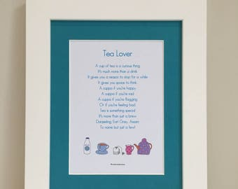 Tea Lover Print, Tea Lover Poem, Mounted Print, Wall Art, Illustrated Poem, Mother's day, Gift For Her