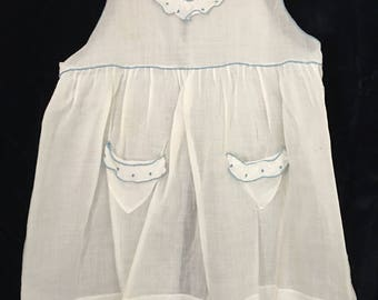 Victorian Voile Little Girls Pinafore 1/2 years blue piping