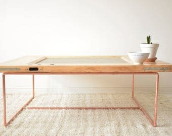 Industrial coffee table made with a door