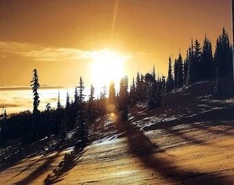 Sunrise photo print,landscape photoart,winter landscape walldecor,photo gold  color print,art photoprint,snow of sunrise,mountain photo,