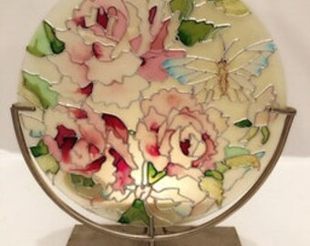 Beautiful Vintage Stained Glass Flower Tealight , Vintage Tealight ,Shabby Tealight , Boho Tealight