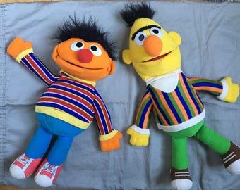 Vintage Bert & Ernie Puppets 1980s