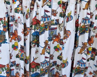 Vintage Retro Animal Circus Curtains Lined MCM 1960's