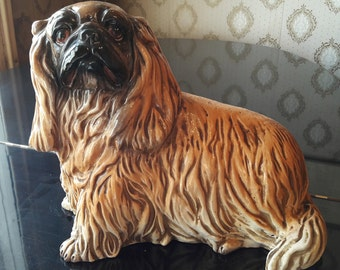 Statuette - Earth dog Pekingese vintage terracotta
