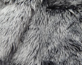 "Grey Faux Fur Fabric Craft, Fur Strip 56""x10.5"", Teddy Fur Craft, Making Animal Fur"