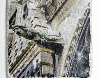 T091 Handmade Stone Tile - Gargoyle spouts on the exterior of Notre Dame