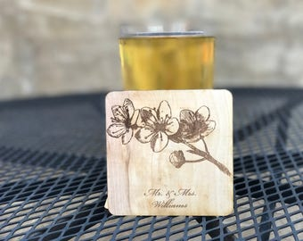 Personalized Laser Engraved Wooden Coaster With Cherry Blossom Design