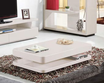 Courbe 1.2m Taupe Gloss Coffee Table