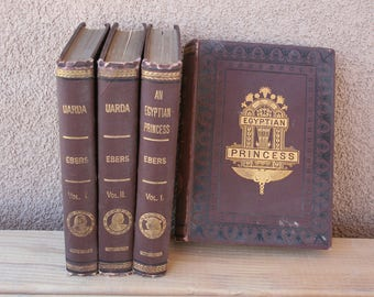 An Egyptian Princess and Uarda by Georg Ebers, Vols I and II-Set of four vintage books, 1884-1888