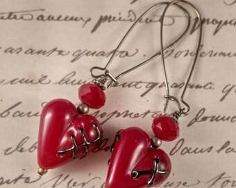 Frankenstein Lampwork Heart Earrings SRA