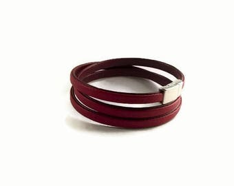 Gift mother's day, mother's day, red faux leather bracelet jewelry