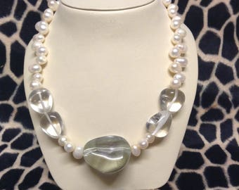 Pearl and crystal pebble necklace