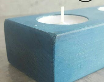 Blue waxed tea light holder / reclaimed wood / wax / gift / house warming / decor / interior / anniversary
