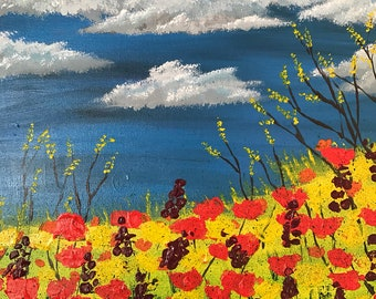 Field of flowers - acrylic on stretched canvas 40/40 cm