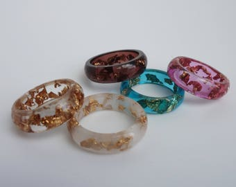 Handemade resin ring with gold leaf.