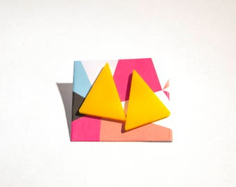 Retro 80s Triangle Earrings - laser cut plastic