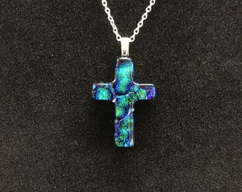 dichroic glass cross necklace
