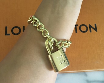 Louis Vuitton Lock & Key Chunky Bracelet, Handmade,Repurpose,Upcycle,Recycle.
